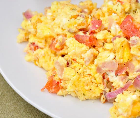 Scrambled Eggs With Ham and Green Onions